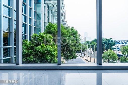 view through glass window,china.