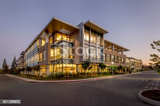 Office building at dusk, Silicon Valley, California.