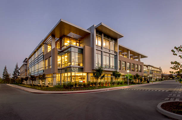 office building, noite, de silicon valley, califórnia - arranha céu - fotografias e filmes do acervo