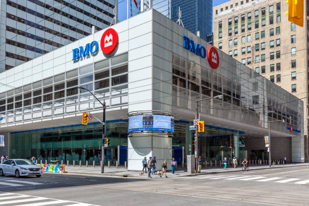 BMO (Bank of Montreal)  office building of main branch in Toronto's financial district Toronto, Ontario. stock photo