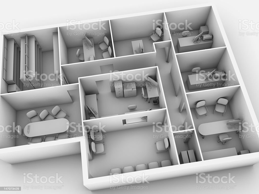 Office Building Greyscale rendering of a office building. Board Room Stock Photo