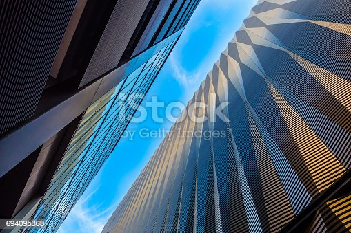 Modern office building in uprisen angle view
