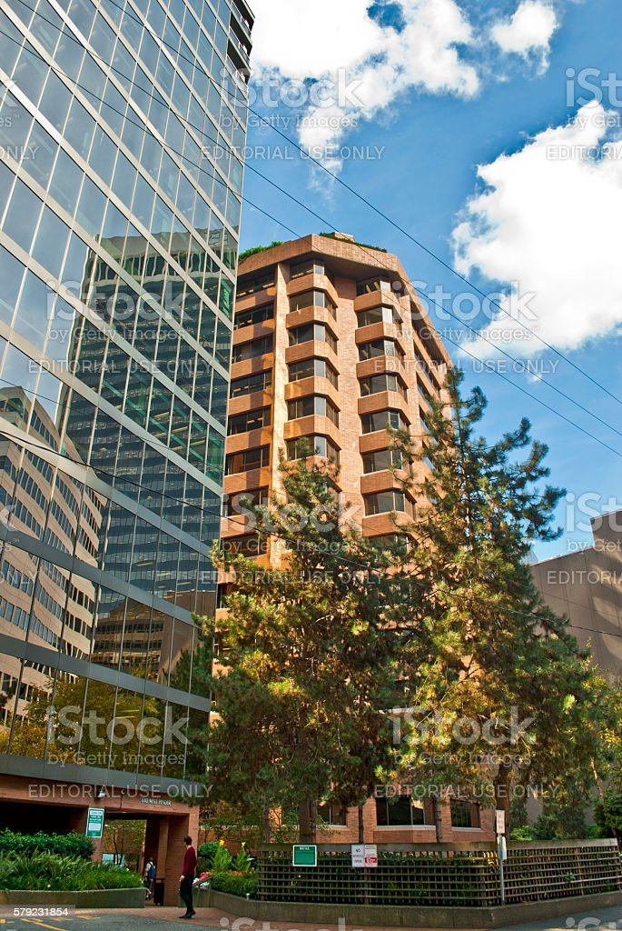 Office building reflections stock photo