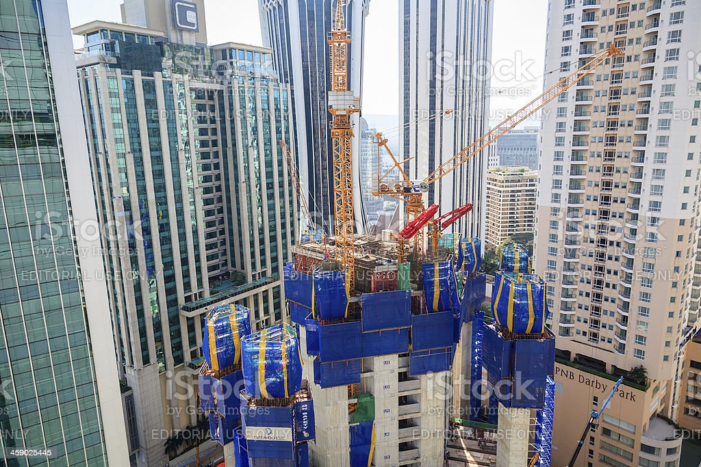 Office building under construction in the City of Kuala Lumpur royalty-free stock photo