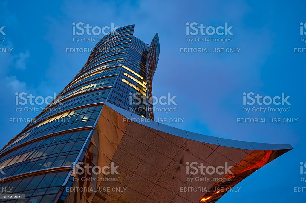 Warsaw, Poland - March 28, 2016: Office building Warsaw Spire stock photo