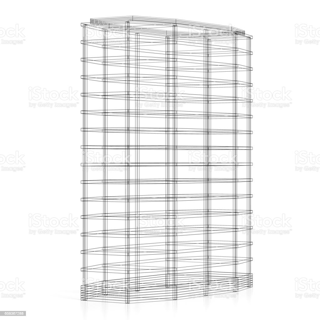3d office building wireframe stock photo more pictures of abstract