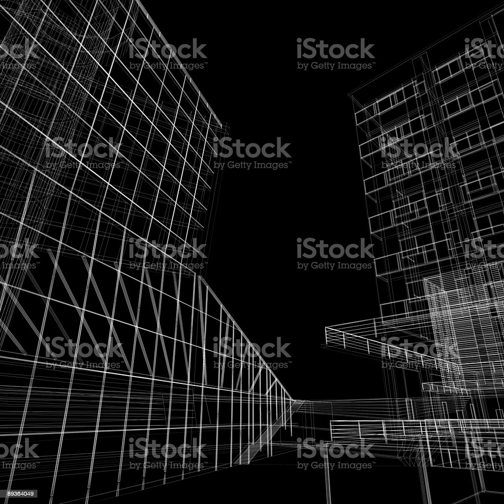 Office building wireframe royalty-free stock photo