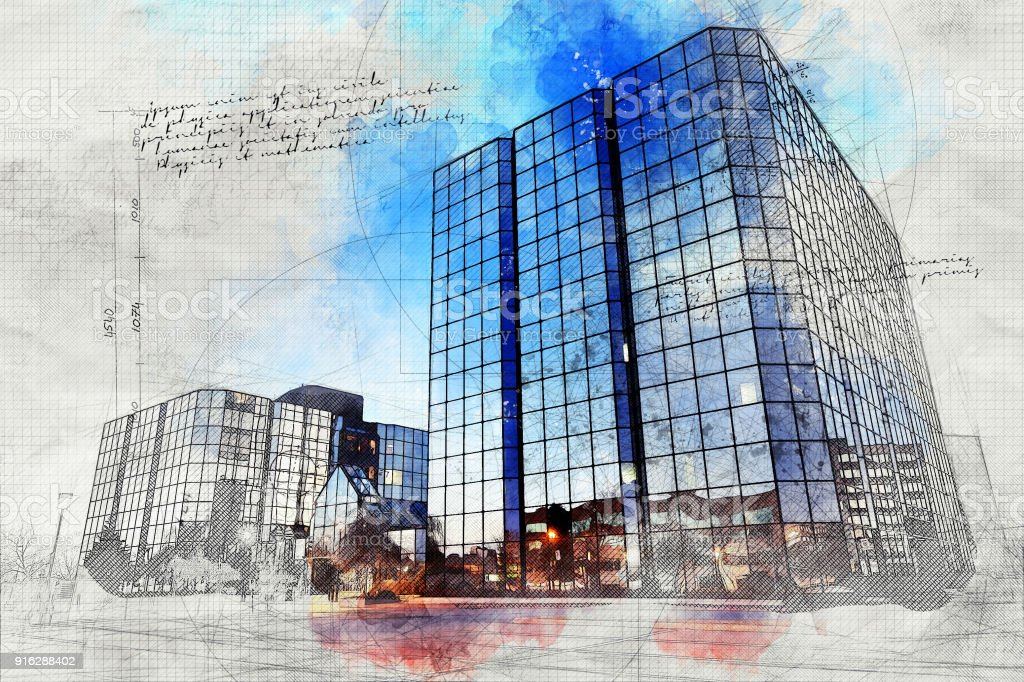 Office Building with Grunge Effect stock photo