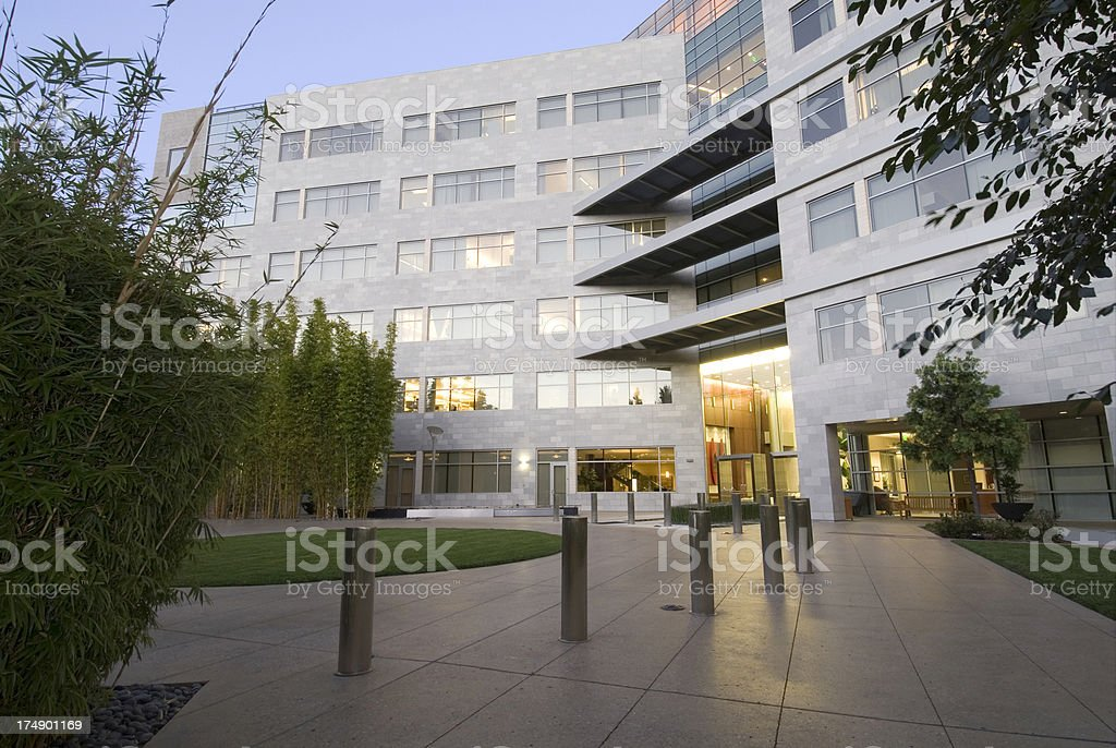 Office building with landscaping stock photo