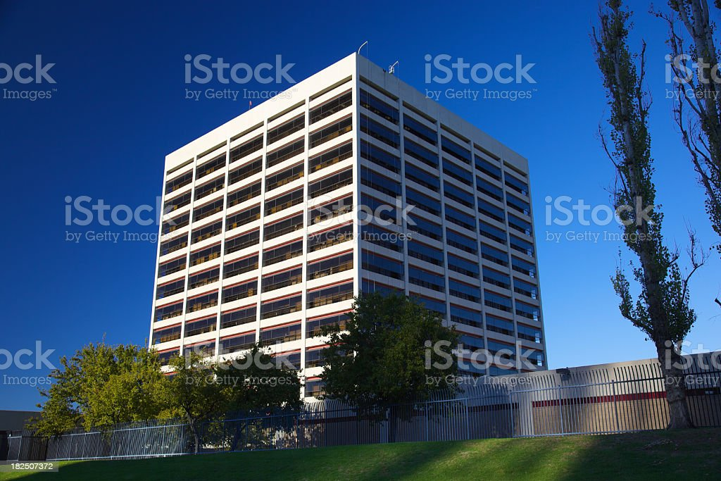 Office Building with Security Fence royalty-free stock photo