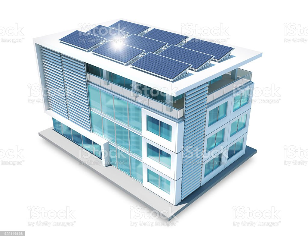 Office Building With Solar Panels On White Background Stock Photo Amp More Pictures Of Architecture Istock