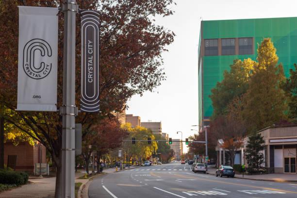 Office Buildings along Crystal Drive in Crystal City / Arlington, Virginia) stock photo