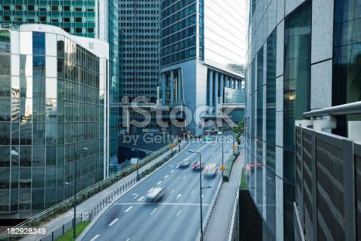 889637894 istock photo Office Buildings and Busy Street in Financial District, Paris, France 182928349