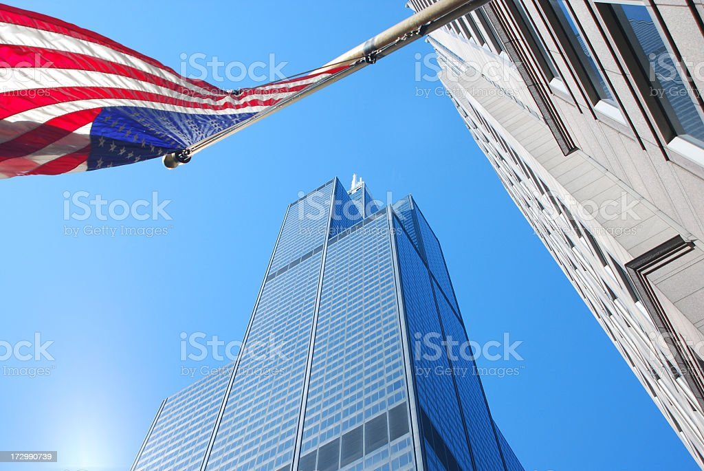 Office Buildings and Flag, Chicago royalty-free stock photo