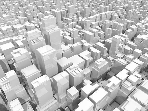 les gratte-ciel, immeubles de bureaux et 3d illustration - lieu générique photos et images de collection