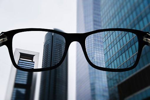 Office buildings as seen from glasses