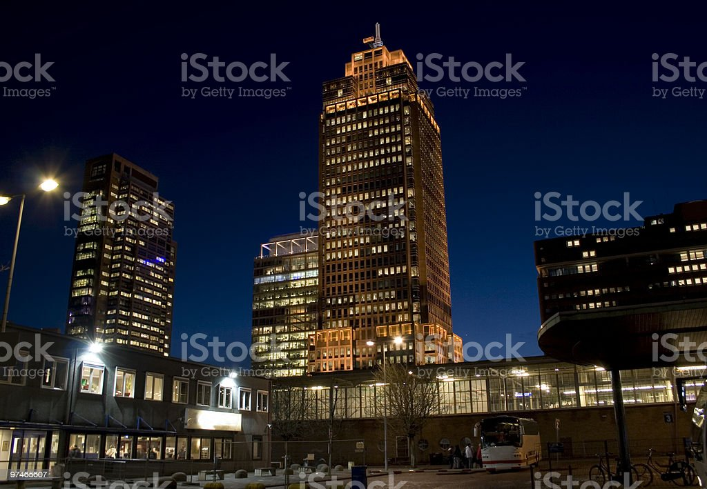 Office buildings by Night in Amsterdam stock photo