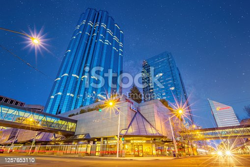 Street scene with office buildings in downtown Edmonton Alberta Canada at night