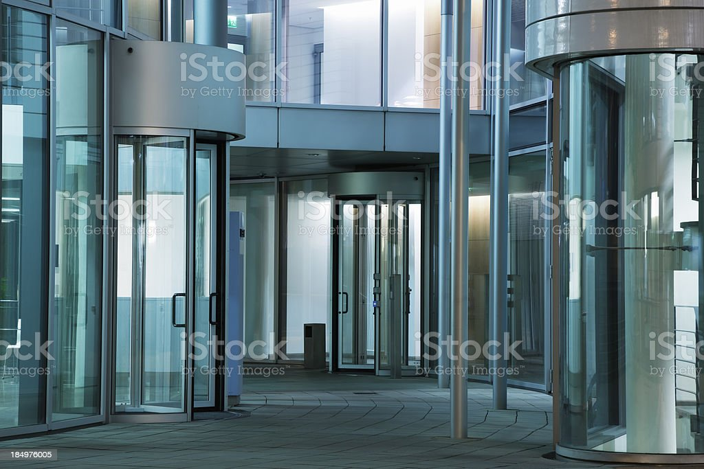 Office Buildings Entrances With Revolving Doors royalty-free stock photo
