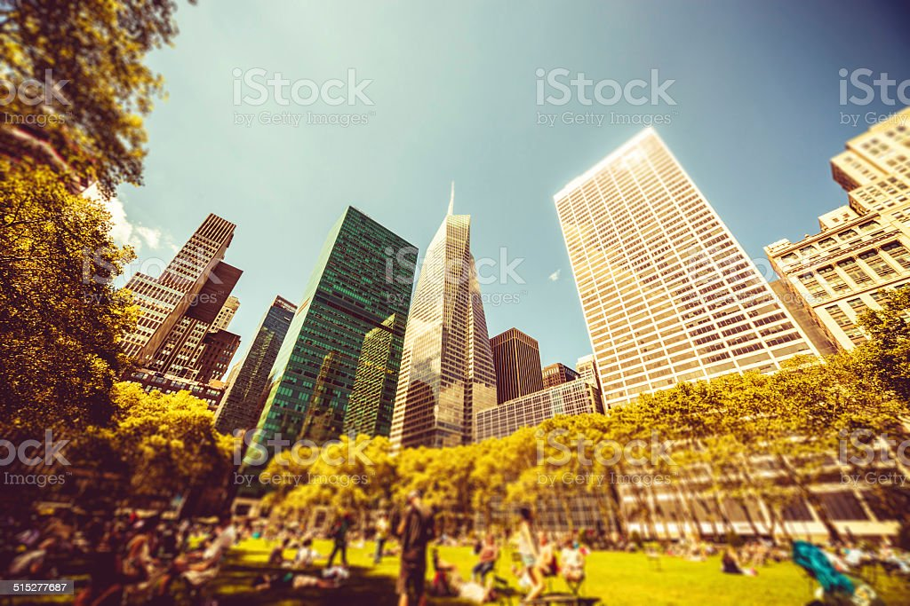 Office buildings in Bryant Park, New York stock photo