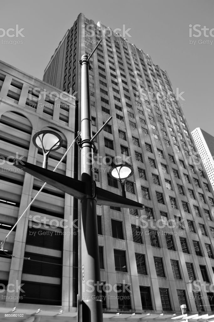 Office Buildings in Houston, Texas (black and white) stock photo
