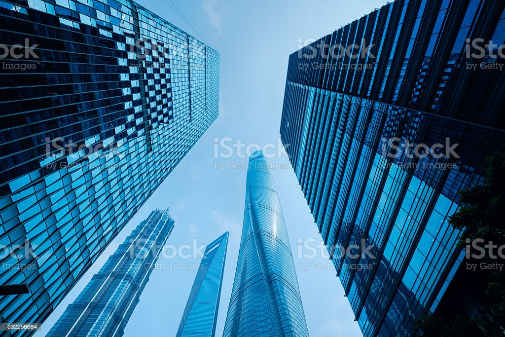 Office Buildings in Shanghai, China. stock photo