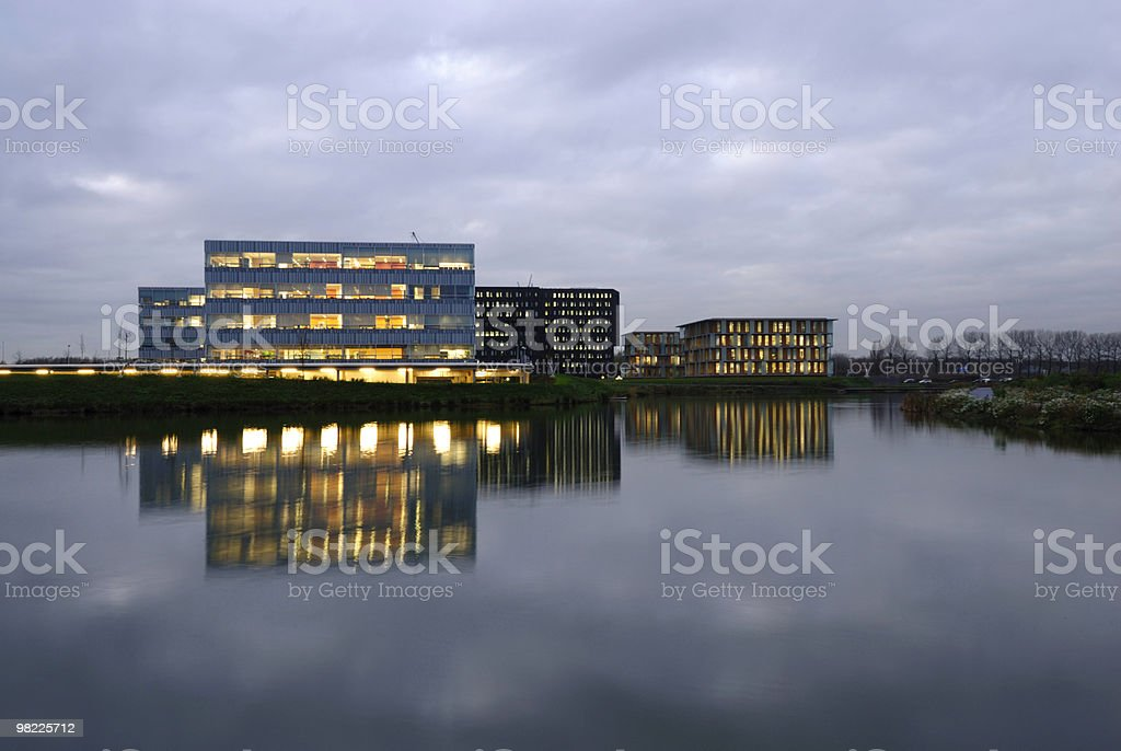 Office buildings in the evening royalty-free stock photo