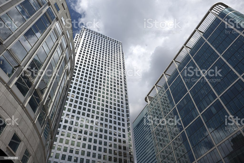 Office Buildings, Low Angle View, Canary Wharf, London, UK royalty-free stock photo