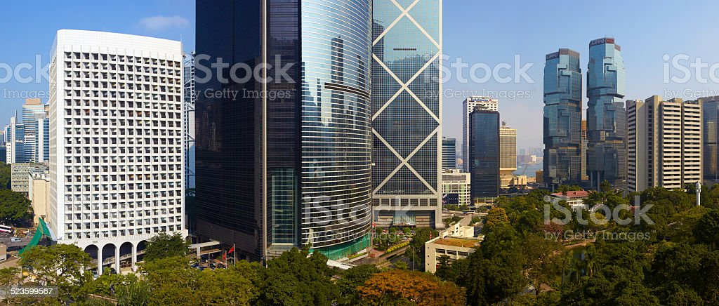 Office Buildings Of Hong Kong Island Panoramic stock photo