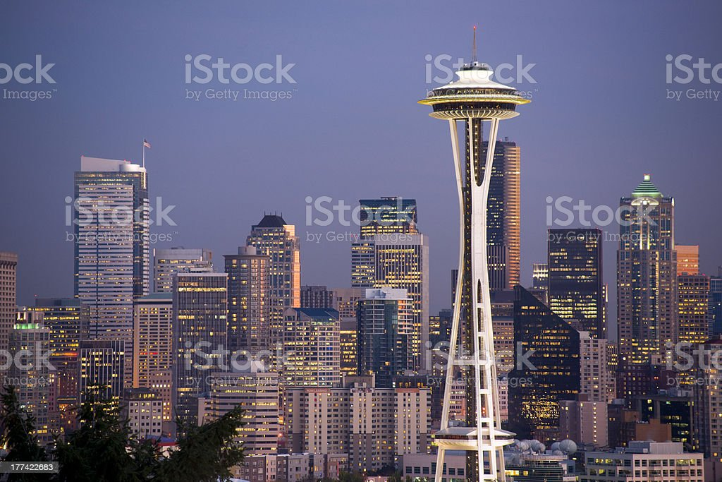 Office Buildings Skyscrapers Seattle Skyline Evening Lights Space Needle stock photo