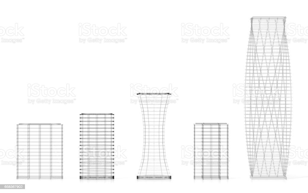 3d office buildings wireframe stock photo more pictures of