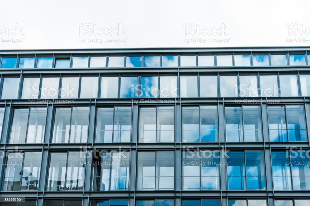 office buildings with big glass balconies