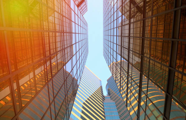 Office buildings with reflection City skyscrapers. Architecture construction futuristic building. stock photo