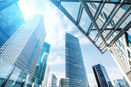 istock Office buildings with sunlight 1185438902