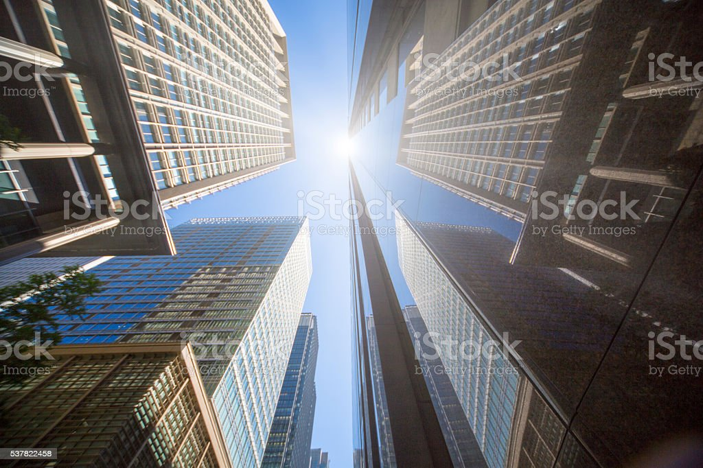 office buildings with sunlight stock photo