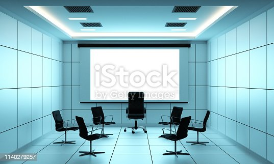 Office business boardroom meeting room and conference table, modern style. 3D renderin