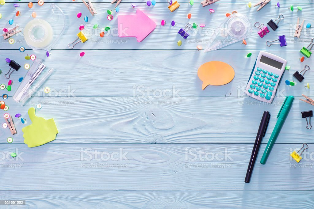Office, business, education still life concept on blue wooden ba stock photo