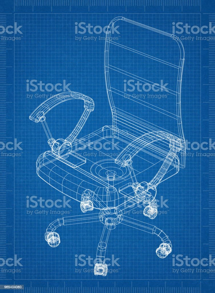 Office Chair Architect blueprint royalty-free stock photo