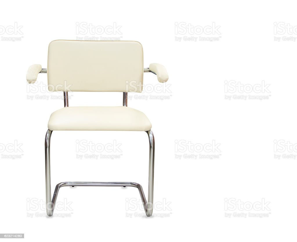 Office chair from white leather isolated stock photo