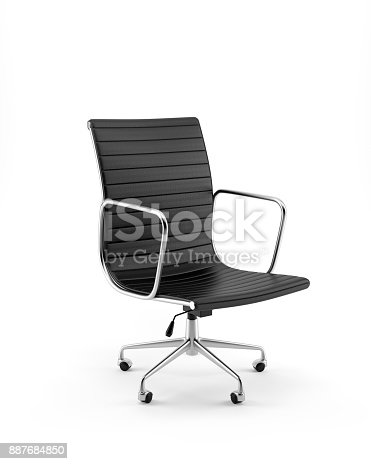 Digitally generated black leather office chair isolated on white background.