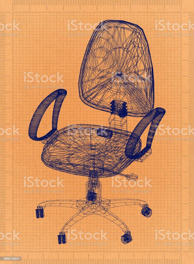 Bürostuhl - Retro-Blueprint – Foto