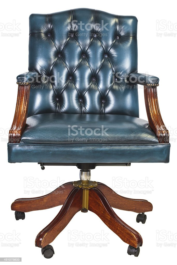 Office chair with buttoned leather isolated on white stock photo