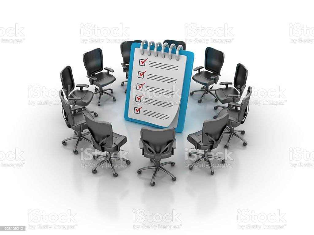 Office Chairs Meeting with Check List Clipboard stock photo