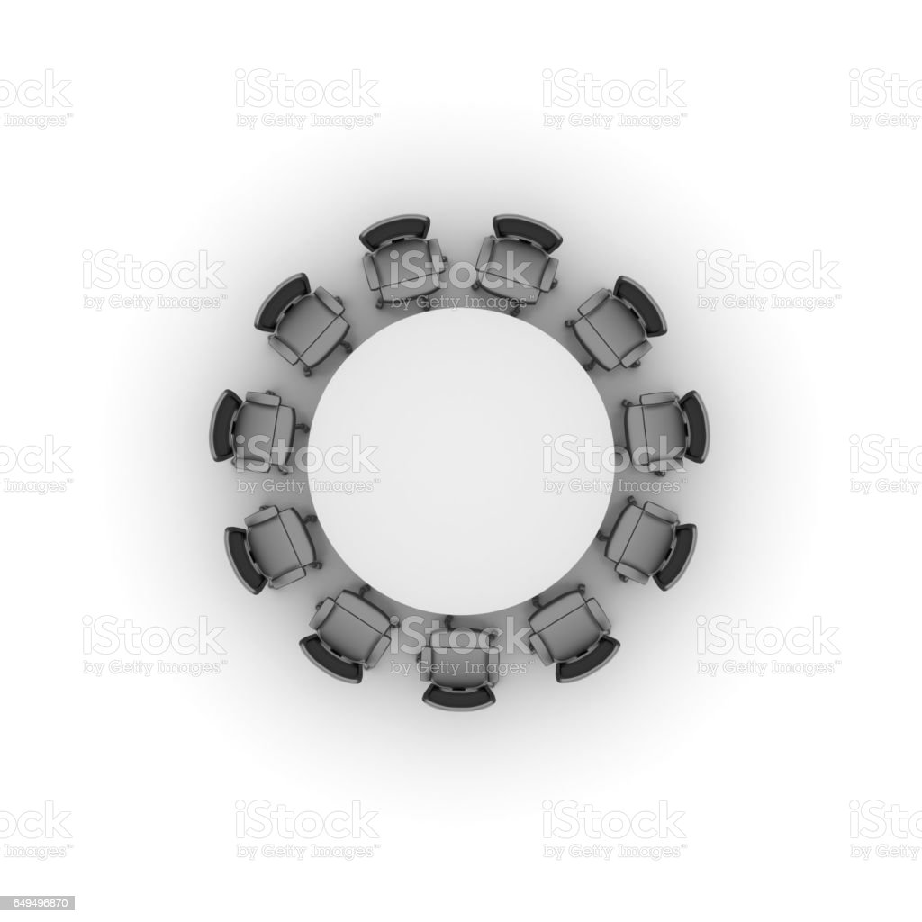 Office furniture top view - Office Chairs Meeting With Table In Top View 3d Rendering Royalty Free Stock Photo