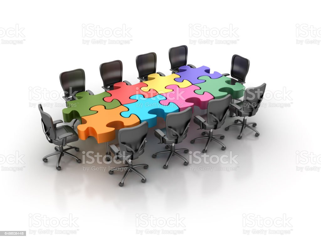 Office Chairs Meeting with Table of Jigsaw Pieces - 3D Rendering stock photo