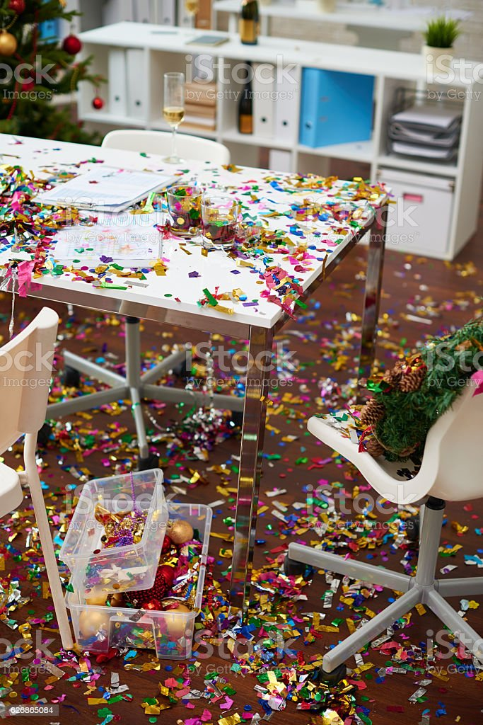 Office chaos after party stock photo