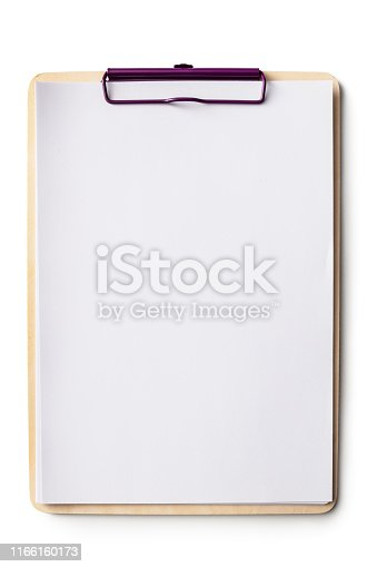 Office: Clipboard with Paper Isolated on White Background