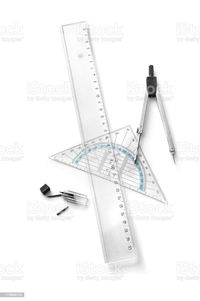 Office: Compasses and Rulers royalty-free stock photo