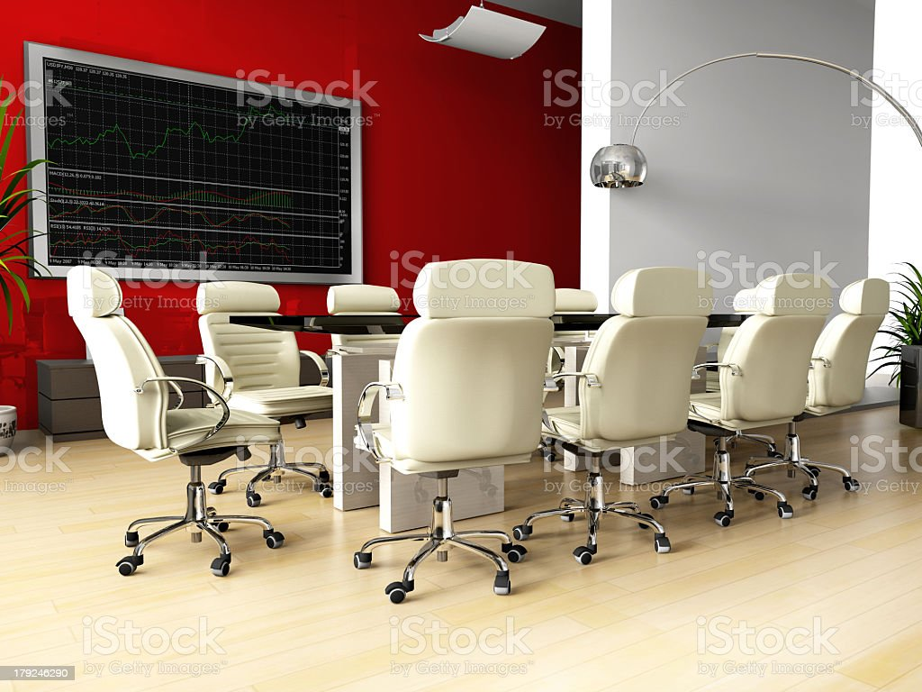 Office conference room - large table & white leather chairs royalty-free stock photo