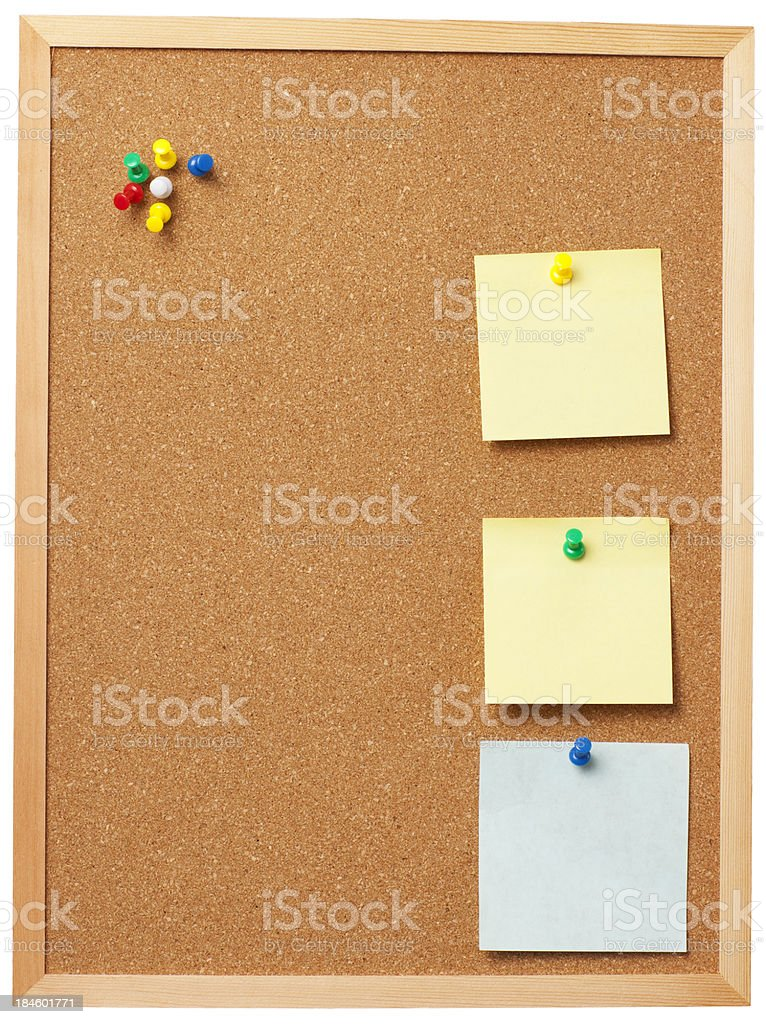Office cork board with blank memo notes. royalty-free stock photo